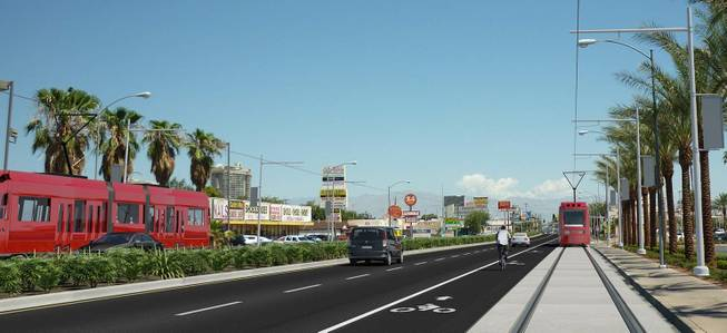 """Las Vegas Sun """"Vision of refreshed Maryland Parkway includes four districts, mass transit"""""""